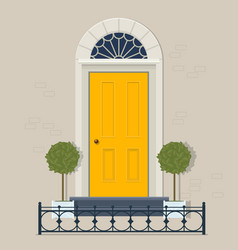 yellow front door with plants in pots and cast vector image