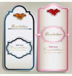 Card notes with ribbons Vintage invitations vector image vector image