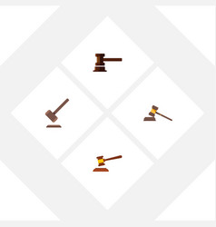 flat icon hammer set of court tribunal vector image