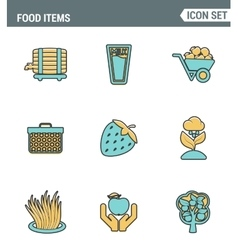 Icons line set premium quality of food Items vector image vector image