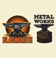 set of vintage colored blacksmith label with anvil vector image