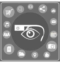 Smart glasses white icon vector image