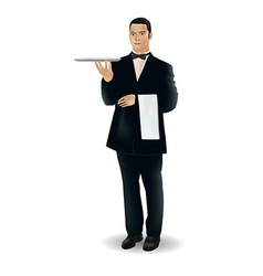 A welcoming waiter character holding a serving vector image