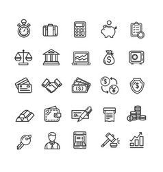 banking and accounting icon black thin line set vector image vector image