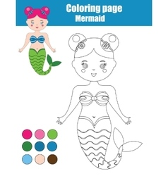 Coloring page with mermaid Children educational vector image vector image