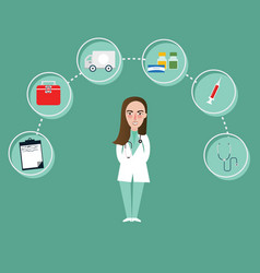 doctor girl character and medical icons around vector image vector image