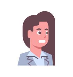 Female shocked emotion icon isolated avatar woman vector