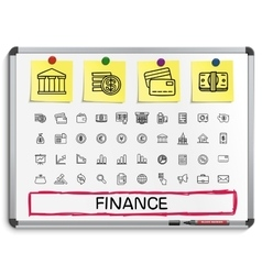 Finance hand drawing line icons vector