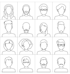 Linear people icons Set of stylish people icons vector image