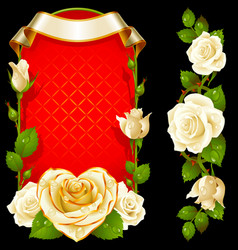 Set of floral decoration white roses green vector