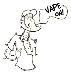 The person with an electronic cigarette in hands vector image vector image