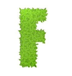 Uppecase letter F consisting of green leaves vector image vector image