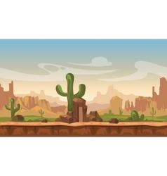 Cartoon america prairie desert landscape with vector image