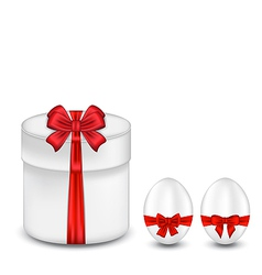Easter gift box with red bow and eggs vector image vector image