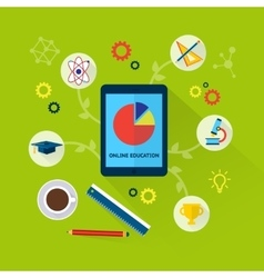 Online education concept with science icons vector image vector image