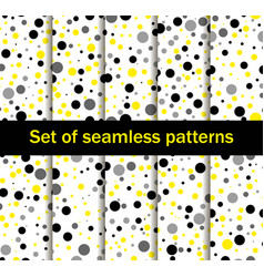 seamless patterns with circles black and yellow vector image vector image