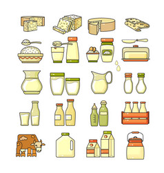 set of flat design cute colorful dairy icon vector image vector image