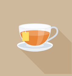 tea in glass with tag flat design vector image vector image