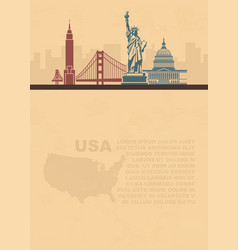 Template leaflets with a map and architectural vector