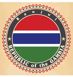 Vintage label cards of Gambia flag vector image vector image