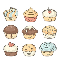 Doodle muffins set vector image vector image