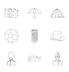 England country set icons in outline style Big vector image vector image