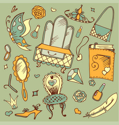 hand drawn doodle set of girl s accessories vector image vector image