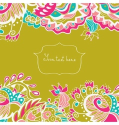 Invitation card with ornate flowers and leaves vector image