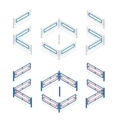 Metal fence flat 3d isometric vector image