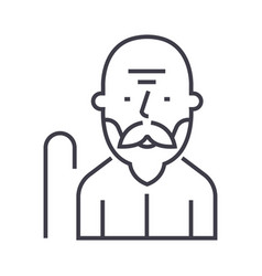old man line icon sign on vector image vector image