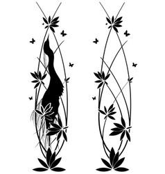 set witn egret and flowers vector image