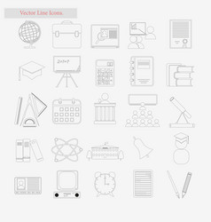 shcool set style line icons on white vector image