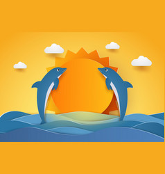 summer time happy dolphins jumping in sea waves vector image