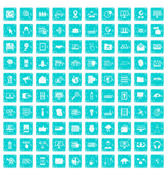 100 cyber security icons set grunge blue vector