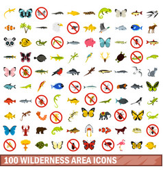 100 wilderness area icons set flat style vector image