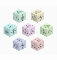 3d cubes with abstract symbols on each side vector image