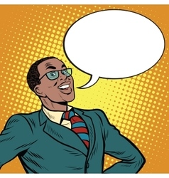 African American businessman says the comic bubble vector image