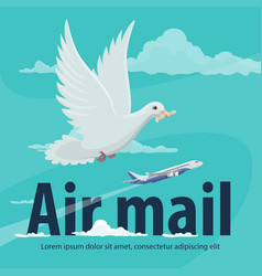 Air mail service banner with plane and pigeon vector