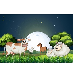 Animals at the forest strolling in the middle of vector image