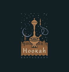 Banner with a hookah on background night vector