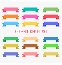 Big set flat colorful ribbons banner vector