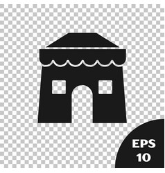 Black circus tent icon isolated on transparent vector