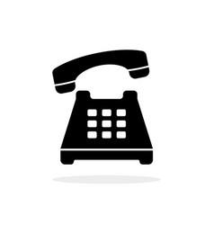Black vintage phone minimal icon vector
