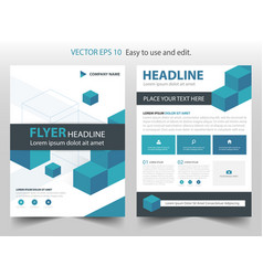 Blue abstract box annual report brochure design vector