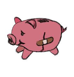 Broke savings moneybox vector