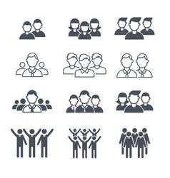 Business team symbols people corporate crowd vector