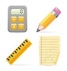 Calculator pencil ruler and paper vector