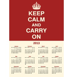 Calendar 2013 keep calm vector