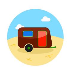 Camping trailer icon summer vacation vector