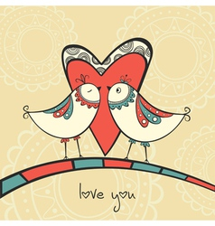 Card with birds in love vector image